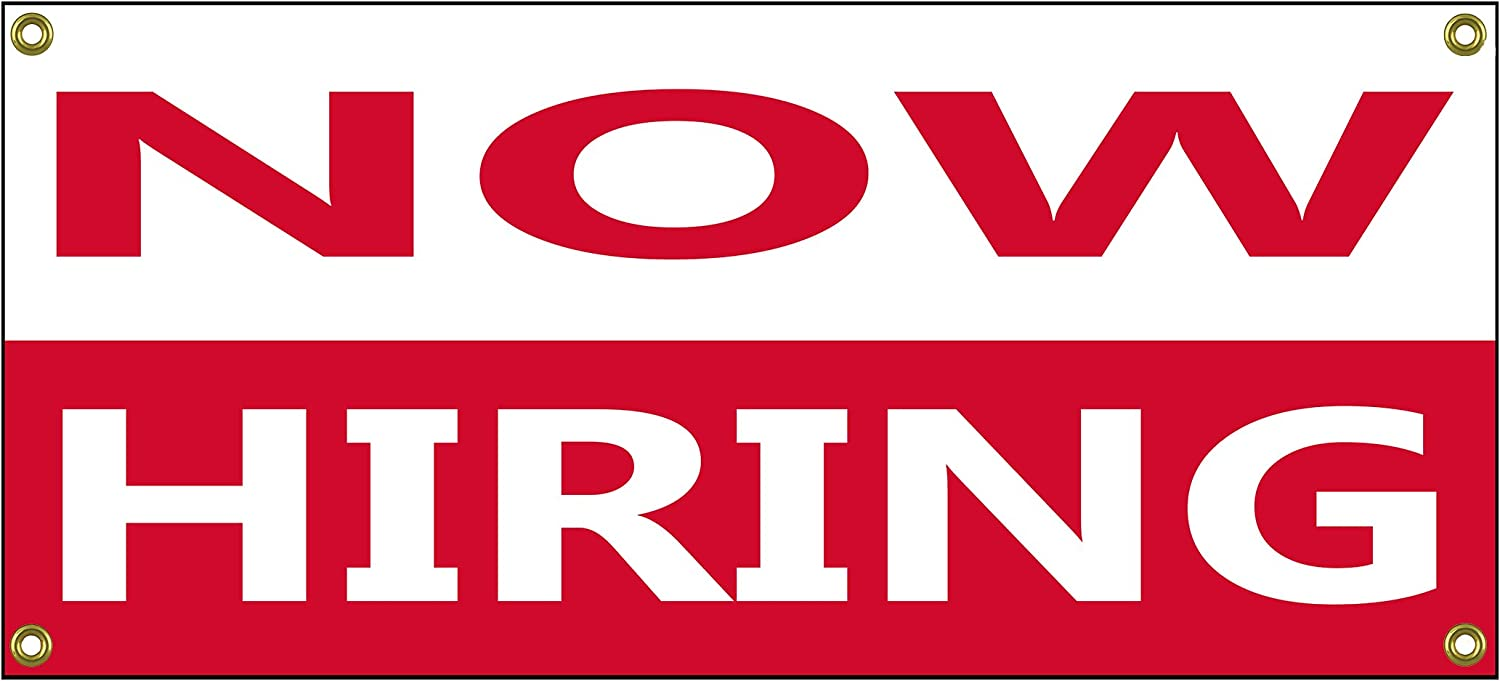 """Now Hiring Banner Retail Store Shop Business Sign 36"""" by 15"""" : Office Products"""