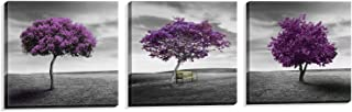 NUOLAN Canvas Print 3 Panels Purple Trees Modern Landscape Framed Canvas Wall Art -P3L3030-003