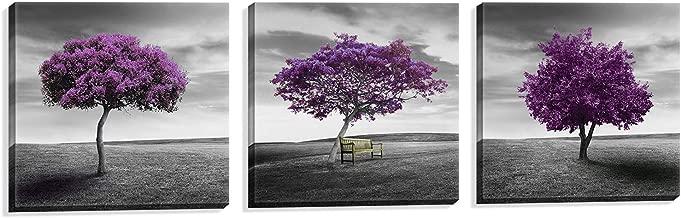 NUOLAN Canvas Print 3 Panels Purple Trees Modern Landscape Framed Canvas Wall Art -P3L3030-003