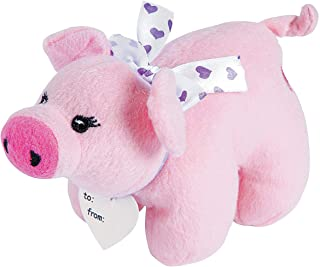Fun Express - HogS-N-Kisses Plush Baby Pig for Valentine's Day - Toys - Plush - Stuffed Farm & Woodland - Valentine's Day - 12 Pieces