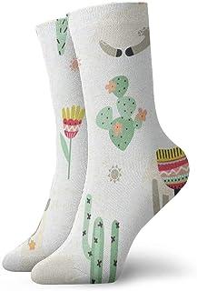 BEDKKJY, Calcetines de Equipo Dibujos Animados Lama Cactus Inspirador para Hombre Calcetines Deportivos Decoración Calcetín para niños
