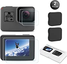 Kupton Screen Protector for GoPro Hero 7 (Black Only)/ 6/5/ 2018, Upgraded Tempered Glass Screen Protector Film+Tempered Glass Lens Film+Lens Cover Accessories for Go Pro Hero7 Hero6 Hero5-2 Packs