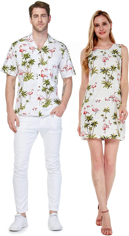 Made in Hawaii Couple Matching Luau Aloha Shirt Tank Dress in Pink Flamingos in Turquoise