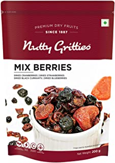 Nutty Gritties Mix Berries - Dried Cranberries, Blueberries, Strawberries, Black Currants - Healthy Snack for Kids and Adu...