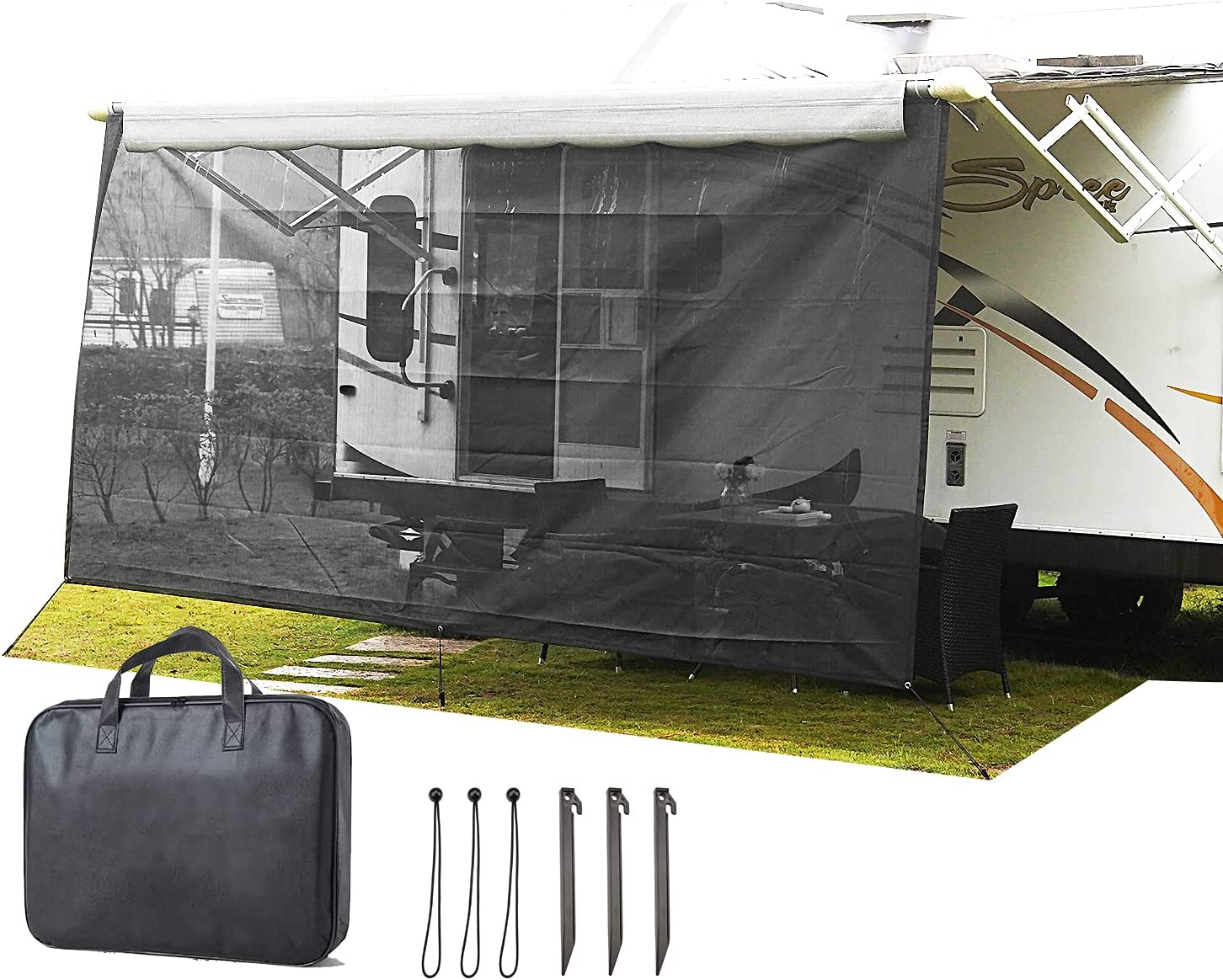 Limited time trial price LDYRJIM RV Awning Manufacturer direct delivery Sun Shade Mesh Screen Black 7'X15'2'' Privacy