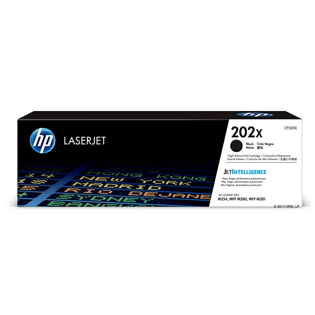 HP 202X (CF500X) Black High Yield Toner Cartridge for HP LaserJet Pro M254 M281cdw M281dw