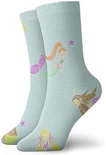 tyui7, Patrón de sirena de dibujos animados calcetines de compresión antideslizantes calcetines de 30 cm acogedores atléticos para hombres, mujeres, niños