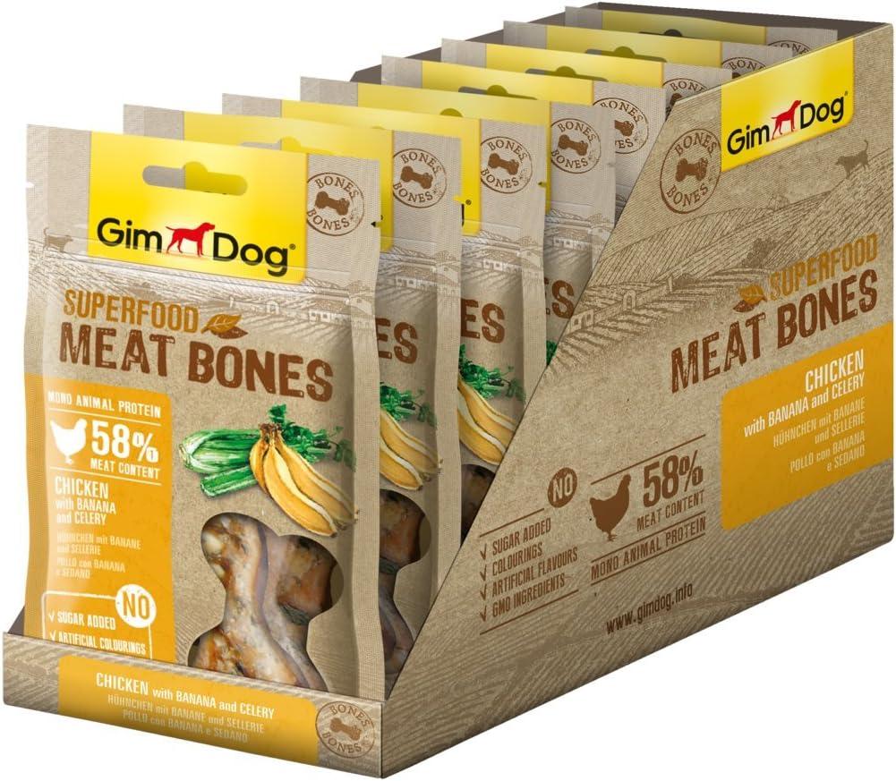 Gimdog superalimentos Meat Bones | luftgetrockneter Mono proteína Perros Snack de gallina Combina (Pack de 8, 8 x 70 g)