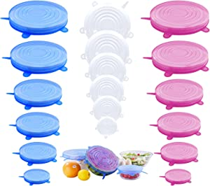 Jyabura Silicone Stretch Lids, 18 Pack Reusable Silicone Lids, Silicone Bowl Food Covers, 6 Sizes Freezer Container, Dishwasher & Freezer & Microwave Safe