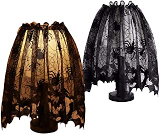 3 Pack Halloween Decorations Set Black Lamp Shades Cover Lace Spiderweb Halloween Tablecloth Party Supplies Fireplace Scarf Cover