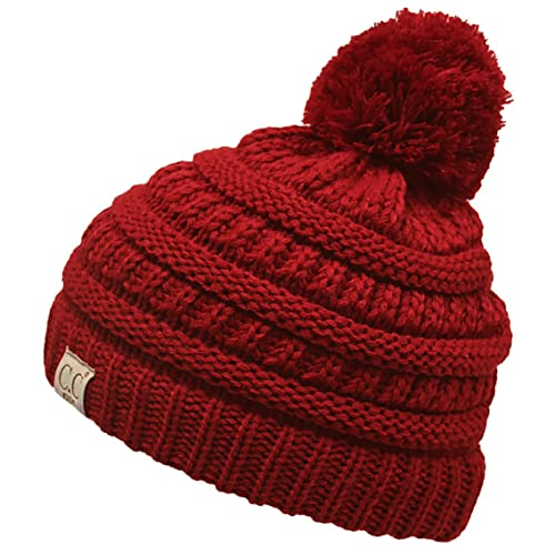 3090bfcb249 Funky Junque Kids Baby Toddler Cable Knit Children s Pom Winter Hat Beanie