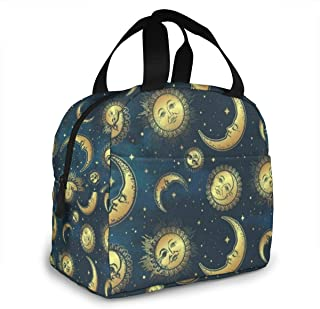 Portable Lunch Tote Bag Boho Celestial Bodies Gold Sun Moon And Stars Insulated Cooler Thermal Reusable Bag Lunch Box Handbag