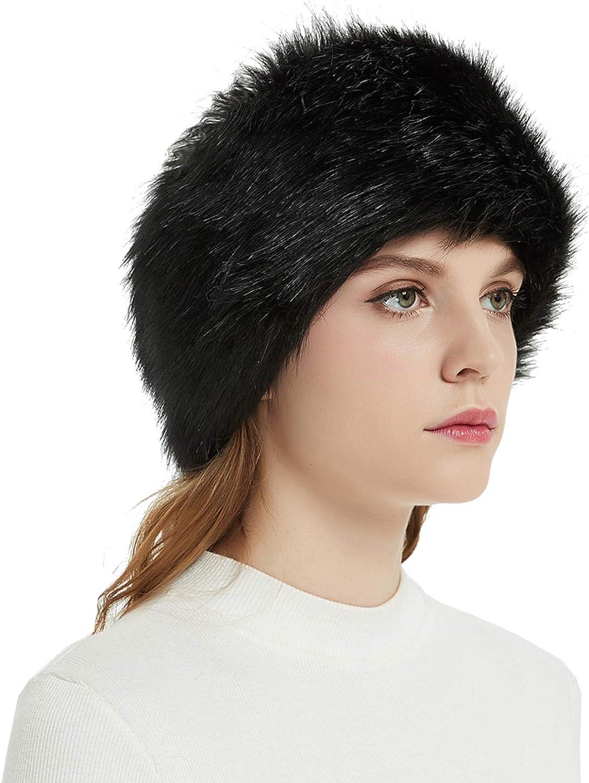 Faux Fur Winter Headband-Womens Fashionable Ski Hat Ear Warmer Headwrap with Elastic