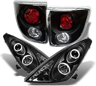 For Toyota Celica Black Halo Projector DRL LED Headlights Driver/Passenger Lamps + Tail Brake Light Assembly