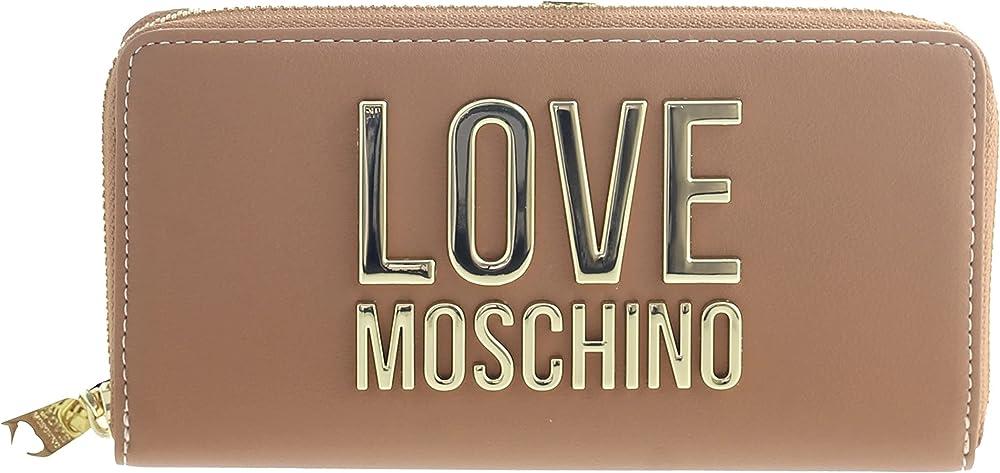 Love moschino porta carte di credito portafoglio da donna in ecopelle marrone