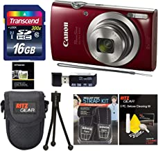 Canon Elph 180 Point and Shoot Camera (Red) with Transcend 16GB, Camera Case, Memory Card Reader, Neck Strap, Cleaning Kit Bundle