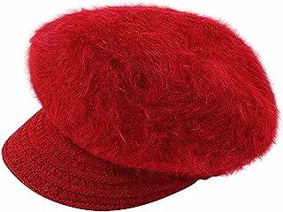Rebecca Women Beanie Hat Braid Knitting Brim Crochet Skull Cap with Visor Cabbie Cap