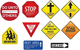 Inspirational Religious Road Signs (Set of 10) Sunday School and VBS Decorations