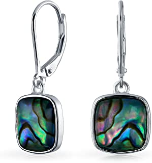 Geometric Shell Rainbow Iridescent Abalone Square Leverback Dangle Drop Earrings For Women For Teen 925 Sterling Silver