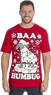 Metzuyan Mens Xmas Tee Printed Funny Novelty T- Shirts Christmas Santa Plus Size Big and Tall 3XL - 5XL