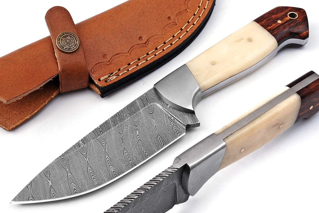 Inventory cleanup selling Large special price !! sale Custom Handmade Damascus Steel Fixed Knif Skinning Hunting Blade