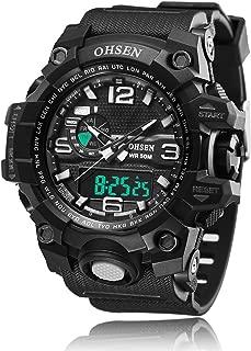 BINZI Casual Reloj De Pulsera Relojes Deportivos A Prueba De Agua Reloj Digital Reloj LED Doble Reloj Cronómetro Alarma Reloj Semana con Negro Correa De Silicón
