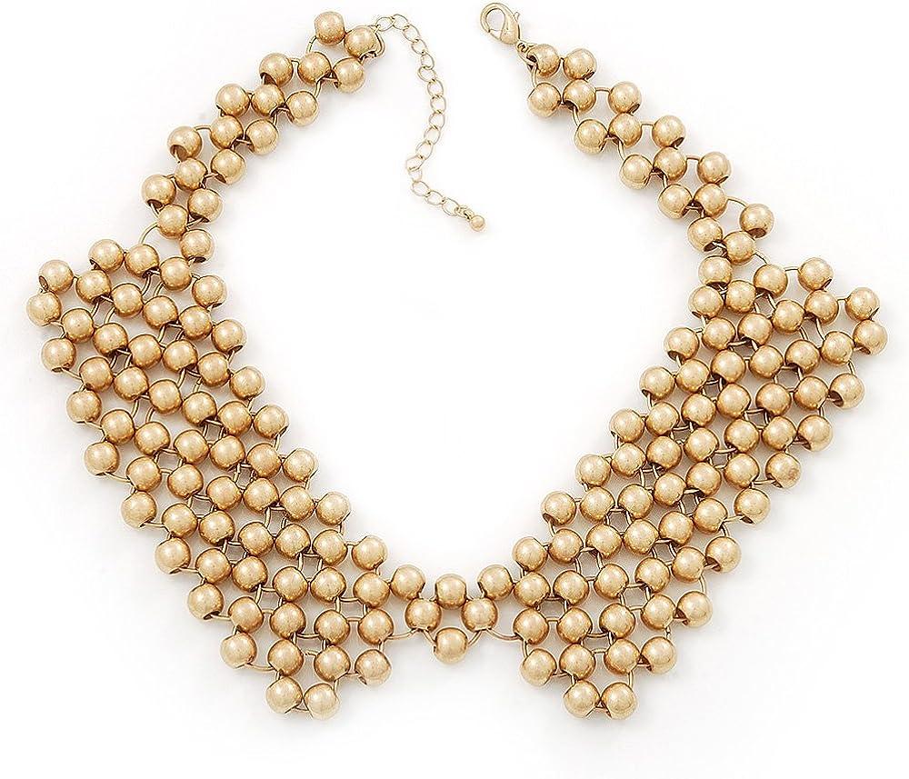 Avalaya 'French Collar' Beaded Choker Necklace in Matt Gold Finish - 38cm Length/ 7cm Extension