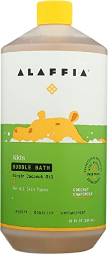 Alaffia Kids Coconut Chamomile Bubble Bath, 32 Oz. Gentle and Calming for Sensitive & Dry Skin. Made with Fair Trade ...
