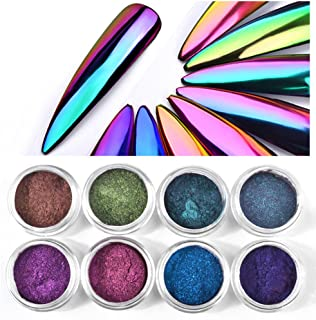 CHARMING MAY 8boxes Chameleon Powder Nail Chrome Pigment Mirror Glitter Powder 0.3G