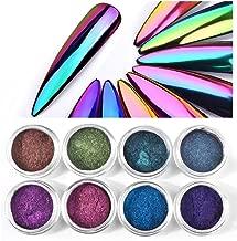 CHARMING MAY 8boxes Chameleon Powder Nail Chrome Pigment Mirror Glitter Powder 0.3G