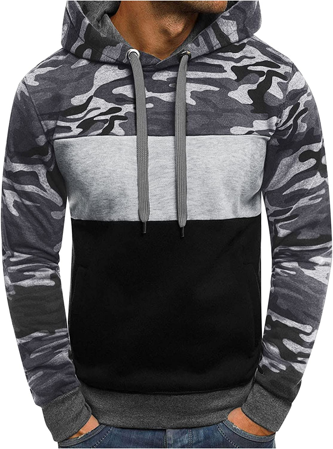 XXBR Camo Patchwork Hoodies for Mens, Camouflage Color Block Hooded Sweatshirts Fall Drawstring Slim Pullover with Hood