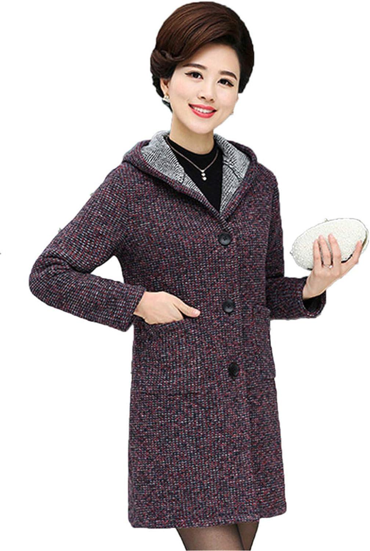 Beltnossnk MiddleAged Casual Large Size Woolen Jacket Medium Cardigan Woolen Coats