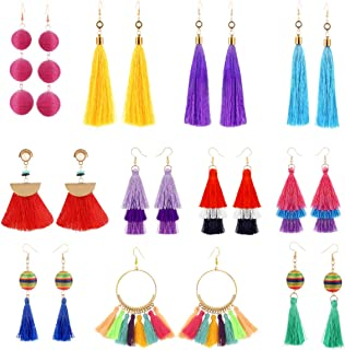 11 Pairs Colorful Long Layered Thread Ball Dangle Earrings Yellow Red Turquoise Tassel Hoop Fringe Bohemian Tiered Tassel Drop Earrings Soriee Stud Earrings Gift Set for Girls Women