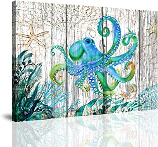 BYXART Octopus Kids Room Decor for Girls Boys Underwater Animal and Sea Grass Canvas Prints Painting Framed Wall Art Set for Living Room Bedroom Bathroom Office Wall Decorations (12x16inx1)
