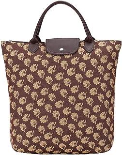 Signare Tapestry Foldable Tote Bag Reusable Shopping Bag Grocery Bag with Jane Austen's Oak Design (FDAW-Jane)