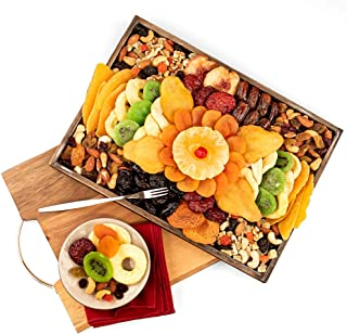 Dried Fruit & Nuts Platter Gift on Wooden Tray for Prime Delivery - Gourmet Food Gifts Basket