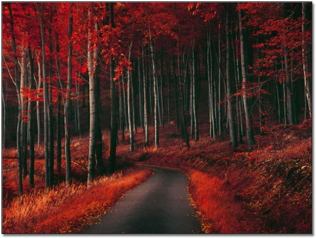 Autumn Road in Red Forest sale Print Canvas C Poster Landscape Elegant