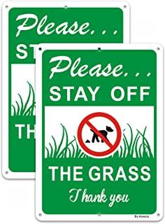 2 Pack Please Stay Off the Grass Dog Sign, No Dog Poop No Pee Signs, 25 x 18 x 0.1 cm Rust Free Aluminum, Easy Mounting Wa...