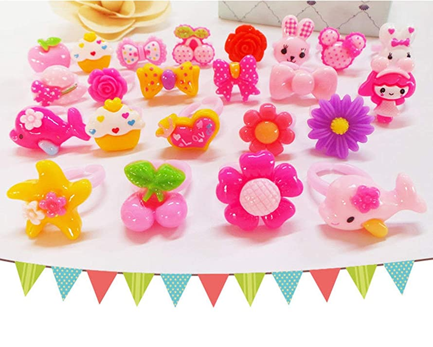 50Pcs Cute Girls Princess Pink Cartoons Flowers Acrylic Resin Children Jewelry Rings Birthday Party Favors