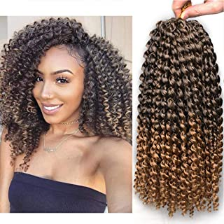 Xtrend 7 Packs 12 Inch Passion Twist Hair Ombre Water Wave Synthetic Crochet Braids for Short Passion Twist Braiding Hair Goddess Locs Bohemian Curl Hair Extensions T27#