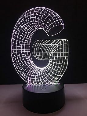 RQMQRL 3D LED Alphabet Lettre G Lampe Illusion 7 Couleur Gradable Gradient Rvb Nuit Lumière Enfant Bébé Chevet Dormir Cadeaux