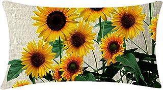 NIDITW Nice Gift Summer Vibrant Sunflower Waist Lumbar Cotton Linen Throw Pillow case Cushion Cover for Sofa Home Decorative Rectangular 12x20 Inches