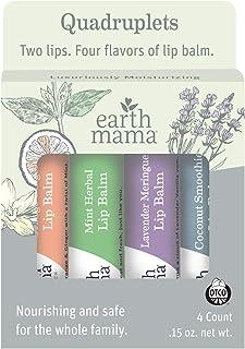 Earth Mama Lip Balm Quadruplets 4-Pack | No Petrolatum, Artificial Colors or Flavors