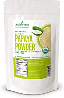 Alovitox Organic Green Papaya Fruit Powder 8 Oz Promotes Skin Health and Improves Digestive System Gluten-Free Certified N...