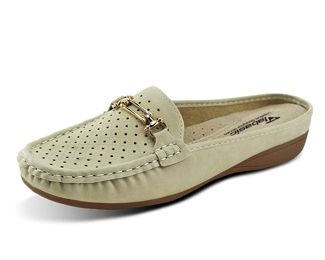 Jabasic Women Easy Slide Mule Moccasins Buckle Penny Slip-On Backless Loafer Shoes