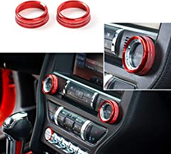 Thenice for Ford Mustang 2015 2016 2017 2018 Interior Voice Volume Control Tune Knob Switch Cover Decoration Ring Trim (Red)