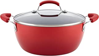 Rachael Ray Classic Brights Hard Enamel Nonstick 5.5-Quart Covered Casserole, Red Gradient