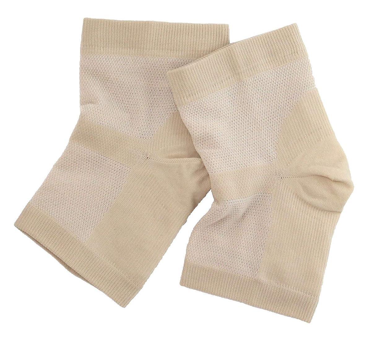 干渉筋肉の窒素温むすび かかとケア靴下 【足うら美人潤いサポーター フリー(男女兼用) ベージュ】 ひび割れ ケア