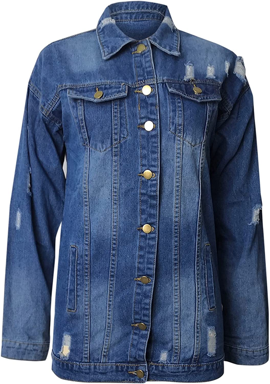 Oversized Denim Jacket for Womens Knit Denim Jacket Buttoned Pockets Jacket Ripped Denim Coat with Pockets Outerwear