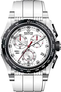 スイスMarvinメンズクロノグラフ防水クォーツカジュアル腕時計Sapphierクリスタルガラスとゴムストラップ ホワイト